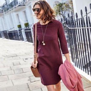 Boden Ribbed Shift Dress Burgundy/Wine Color